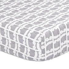 grey owl print fitted crib sheet