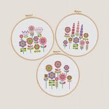 Flower Cross Stitch Pattern Set Of 3 Floral Cross Stitch Modern Colorful Embroidery Chart Decor Wall Art Funny And Easy Printable Pdf