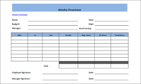 weekly time card free printable weekly timesheet template