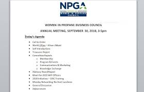 Agenda Of Meeting Wip Meeting Agenda Sept 30 National Propane Gas Association
