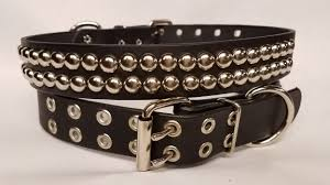 dog collar round studs 2 rows 1 5 inch