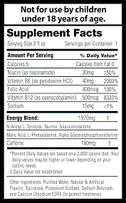 supplement facts suggested use for maximum energy drink one entire bottle at once for moderate energy drink one half bottle or less