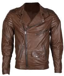 mens classical brown biker leather jacket