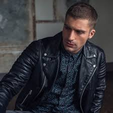 leather jacket and fitted patterned shirt