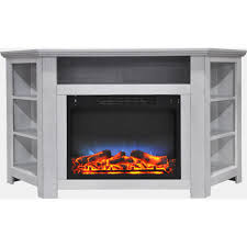 electric corner fireplace in white with led multi color display