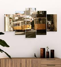 mdf public tram framed art panel set of 5 by go hooked