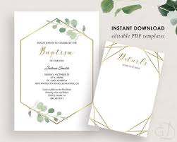Printable Baptism Invitations Greenery Baptism Invitation Printable Baptism Invite Christening Invite Diy Baptism Invite Gold Greenery Editable Pdf Digital Download