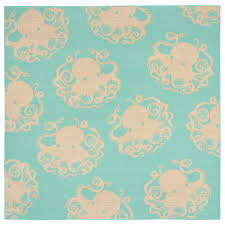 rug  octopus in turquoise  flat woven