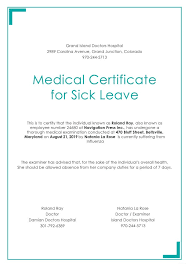 Medical Certificate For Sick Leave Stunning Medical Leave Letter Format Provided By Doctors New Hospital