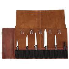 RusticTown All Purpose Leather Knife Roll Storage Bag Chef Roll