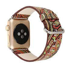 braveayong folk custom leather strap replacement watch band for apple watch 42mm as shown