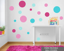 set of 19 pink turquoise polka dot fabric reusable spot wall stickers