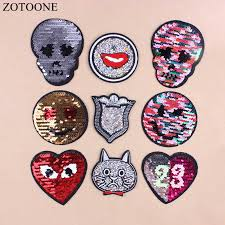 ZOTOONE <b>1PC</b> Reversible Sequins <b>Patch</b> Cheap <b>Embroidered</b> ...