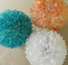 Pom Pom Decorations 3 Teal And Coral Poms Teal Coral Wedding Decorations Tissue