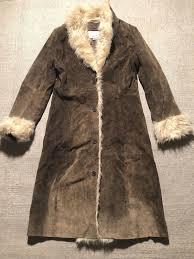 wilsons leather maxima women s genuine genuine genuine leather faux fur trim coat long sz m bb2 316ae0
