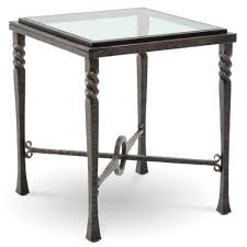 Pictured is the Omega Square End Table with glass table top from Charleston  Forge. The