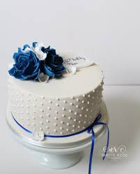 Blue Birthday Cake Designs Blue And White 60th Birthday Cake By White Rose Cake Desig
