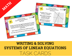 a 2i a 5c writing and solving systems of linear equations task cards cover