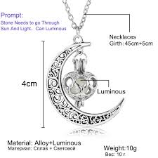 moon glowing necklace gem charm