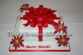 poinsettia gift box cake