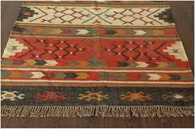 southwestern flat weave multi wool jute handmade rug 13572