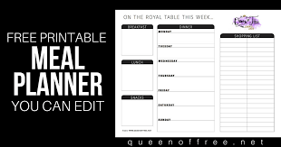 meal planner free all new free printable meal planner you can edit queen of free