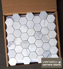 carrara venato marble hexagon honed 2 mosaic tile