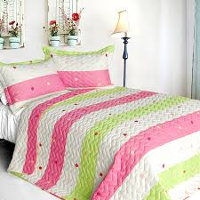 Pink Lime Green Dot Striped Girls Bedding Twin Full Queen King Quilt