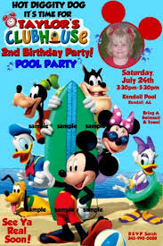 Mickey Mouse Clubhouse 2nd Birthday Invitations Mickey Mouse Clubhouse Pool Party Birthday Invitations