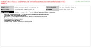 cargo vessel chief steward stewardess resume chief baker resume
