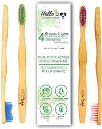 4 Pack <b>Biodegradable Tooth Brush Set</b> | Organic <b>Eco-Friendly</b> Moso