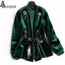 whole uk winter new style beading luxury cardigan jackets 2017 long sleeve green black flower velvet beaded jacket women jacket er leather
