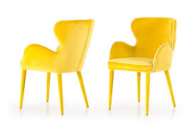 tigard modern yellow fabric dining chair
