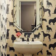 dog wallpaper for walls. Delighful Dog Powder Room With Madison Humphrey Dog Flock Velvet Wallpaper To For Walls R