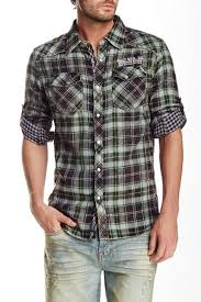 Cult Of Individuality Size Chart Cult Of Individuality Plaid Long Sleeve Regular Fit Shirt Hautelook