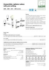 dimensions connections  convertible radiator valves pre setting caleffi