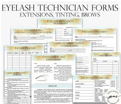 Eyelash Extensions Technician Forms Printable Client Form Cosmetologist Forms Lash Lift Lash Tinting