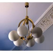 vintage brasilk glass chandelier with six globes