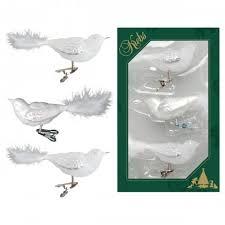 Vogel 3er Set Weiß 11cm Glas