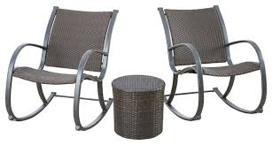 contemporary outdoor rocking chairs. leann outdoor 3-piece rocking chair chat set, round accent table contemporary-outdoor contemporary chairs