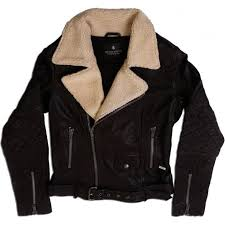 womens leather biker jacket with shearling collar