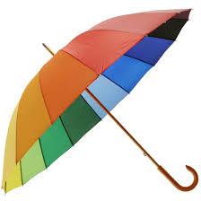 Rainbow Umbrella with <b>Wooden</b> Crook <b>Handle</b> - Brolliesgalore