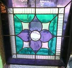 stained glass antique stain glass windows vintage stained window hanger purple green flower leaded va