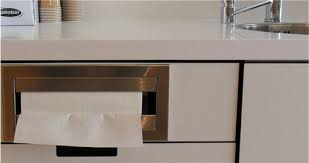 countertop mounted paper towel dispenser satin finish stainless steel has 90 return towels load into top of dispenser