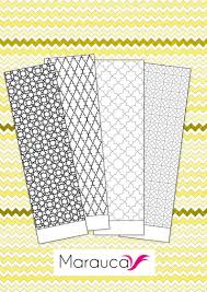 4 Bookmarks Coloring Pages Printable Moroccan Mosaic Islamic Etsy