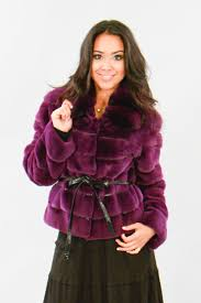 dyed purple sheared mink jacket with chinchilla collar