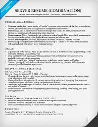 server combination resume sample