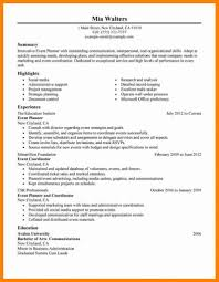 Event Planner Resume Sample Objective Wedding Coordinator