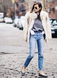 fur coat with casual outfit