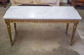 gilt french louis xvi style gilded coffee table with marble top for
